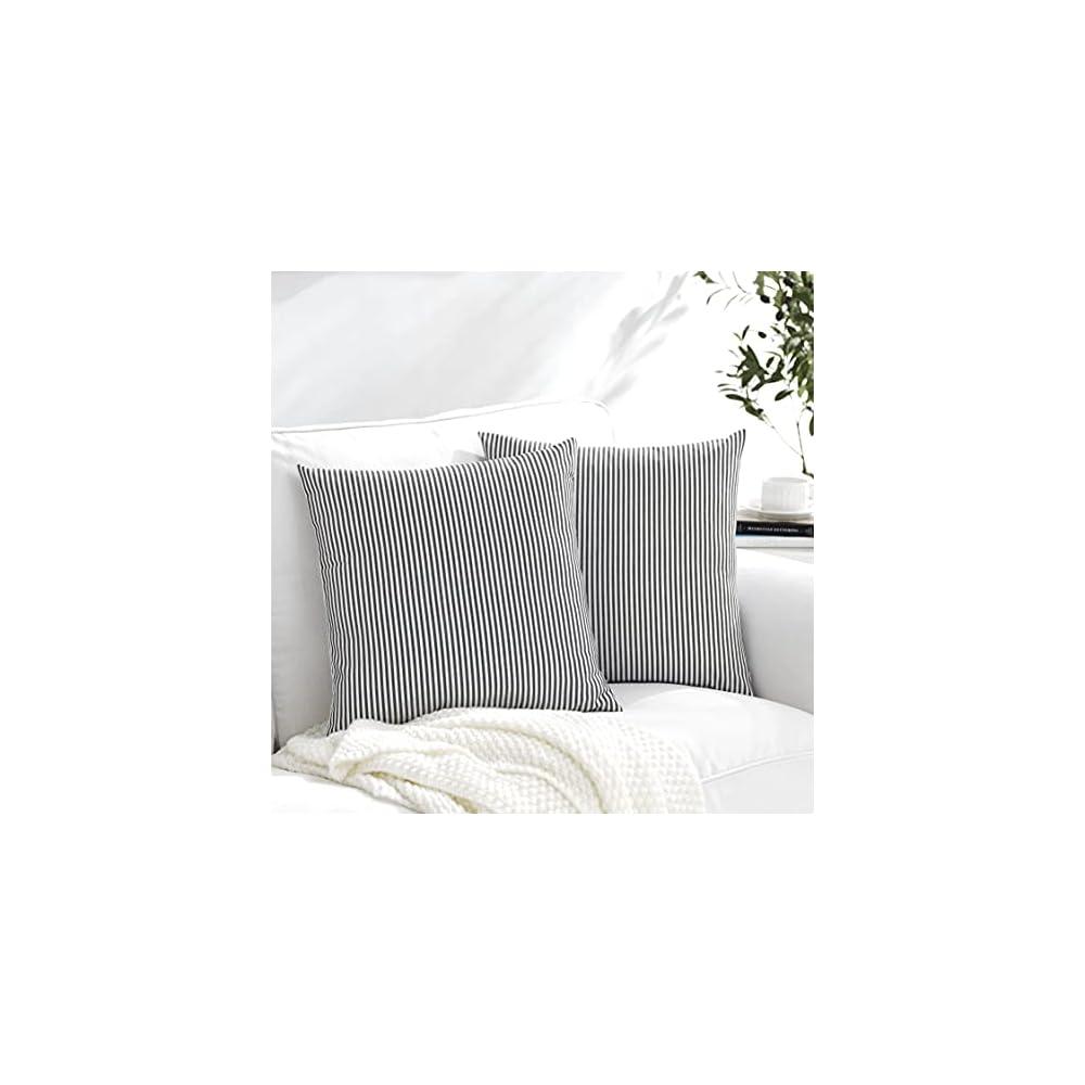 Meekio Set of 2 Decorative Square Throw Pillow Covers 18 x 18 Farmhouse Black and White Ticking Stripe Linen Pillow…