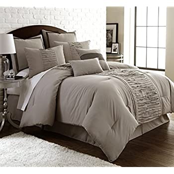 Amrapur Overseas   Marilyn 8 Piece Ruffled Comforter Set  Taupe  King. Amazon com  Amrapur Overseas   Marilyn 8 Piece Ruffled Comforter