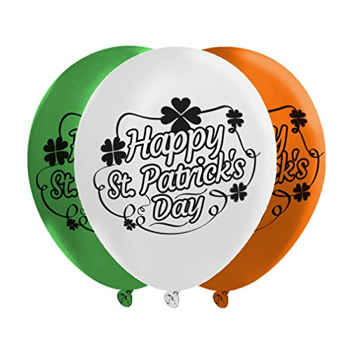 St. Patrick's Day Balloons - 3 Irish Flag Colors: Green, White, & Orange - Party Decoration - 40 Latex Balloons - With Fun Festive Print - Celebrate The Feast Of St. Patrick With Friends & Family ()