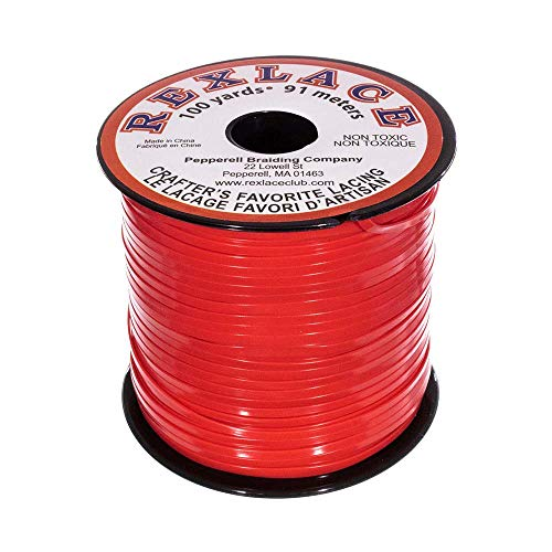 Rexlace Lace Lacing Plastic - Craft County Rexlace Plastic Craft Lace, 3/32-Inch (Red)