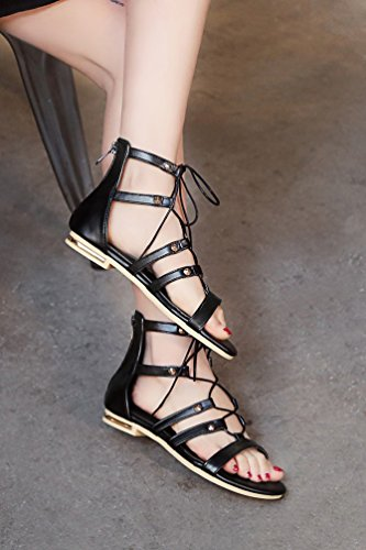 YOUJIA Women's Ladies Flat Lace Up Cross Over Strappy Gladiator Sandals Shoes #2 Black 2dTBOypge