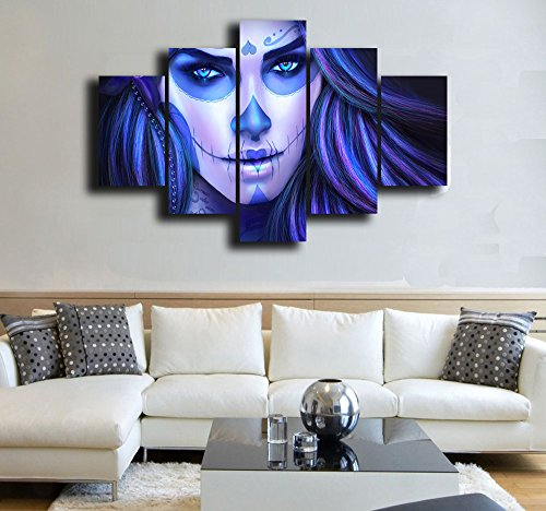 Day of the Dead Face Canvas Halloween Painting Projects Wall Art 5 Panel Modern Awesome Girl Posters and Prints Picture for Living Room,Home Decor Gallery-wrapped Art Set Framed Stretched(60''Wx40''H)