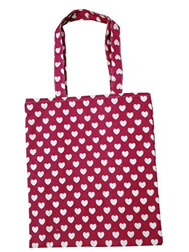 Chezi Women's Cute Love Heart Cotton Reusable Foldable Canvas Tote Shopping Bag (red/zip closure)