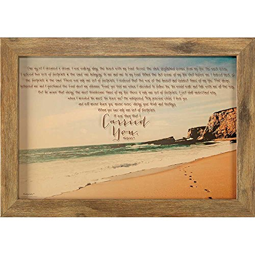 Footprints In The Sand 24 x 16 Wood Framed Wall Sign Plaque]()
