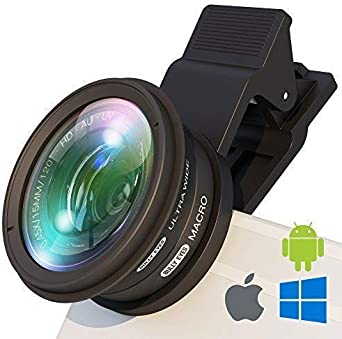 BullyEyes - Phone Camera Lens Attachment   Wide Angle and Macro for iPhone  Samsung  Huawei  For Outdoors Photography and Vlogging  Yoga  Parkour  Skating  Gym Workout  Camp  Travel