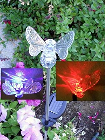Solar Powered Bumble Bee Garden Yard Decor Stake Color Changing LED Light