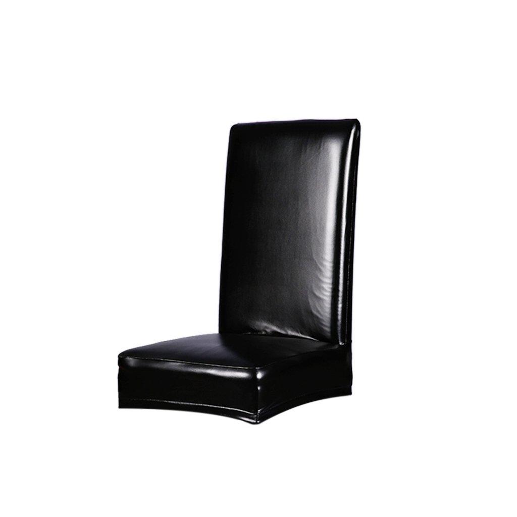 MagiDeal Set de 2/4 Piezas Funda de Silla de Comedor de Estiramiento Cubierta de Asiento de PU Cuero Decoración de Hogar - 4PCS Negro