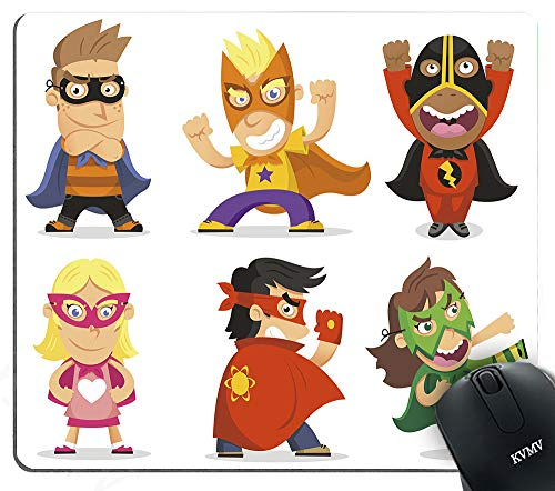 Gaming Mouse Pads Children Dressed as Superheroes Kids Playroom Girls Boys Nursery Babyish Picture Mouse pad for Notebooks,Desktop Computers Mini Office Supplies Non-Slip Mouse Mats -