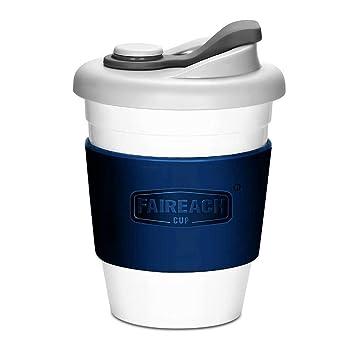 Taza de Café para llevar con Tapa, Taza de Café Reutilizable Faireach con Manga Antideslizante, taza de café portátil ...