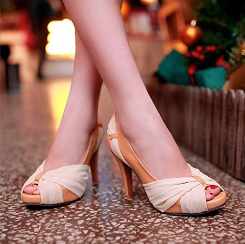 XX&GXM 2017 New Summer Gifts Women shoes,Apricot waterproof High heel shoes,Apricot Women color,42 Daily Banquet Party Married Sandals B0731DBPZ7 Parent 5fed7e
