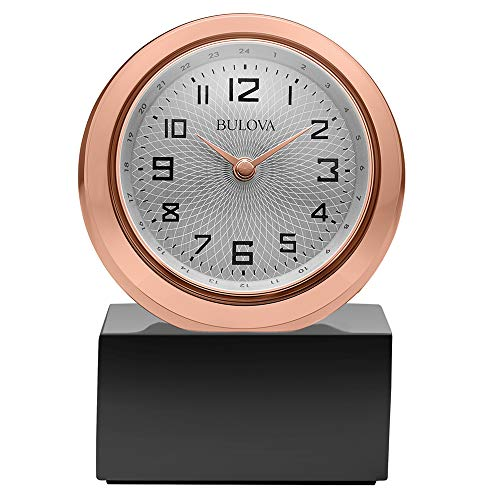 Bulova B5015 Sphere Table Clock, Polished Rose Gold/Tone Finish, Black Base