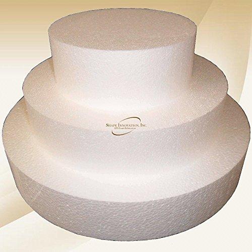 """Round 5"""" Cake Dummies - Set Of 3, Each 5"""" High By 8"""", 12"""", 16"""" Round"""