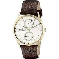 Skagen Men's Holst Brown Leather White Dial Watch