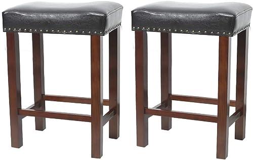 Okeysen Barstool,Solid Wood Saddle Seat Backle