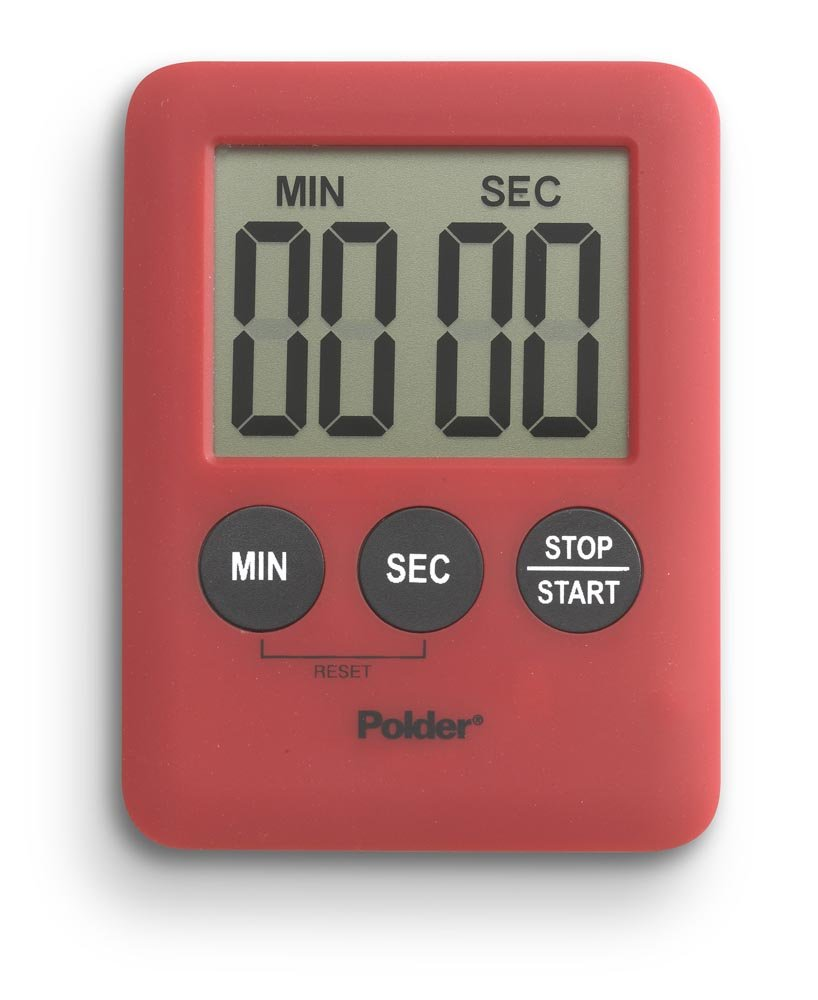 Polder TMR-607-39 Mini 100-Minute Kitchen Timer with Digital Display, Red by Polder