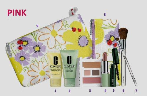 Brand New Clinique de 2013 ressorts 9 pièces Beauty Essentials (couleur rose) Gift + Brush Set, comprend: (1) 7 Day Scrub Cream rincer Formule 1 oz, (1) tellement différente Lotion hydratante 1 oz, (1) High Impact Mascara en Noir, (1) Compact avec Pink Sh
