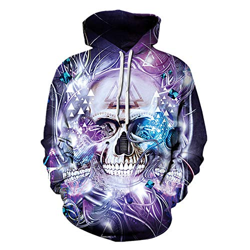 Mclochy Unisex Hoodies 3D Print Skull Halloween Sweaters Purple Punk Tops (Asia L/XL = US M/L, Machine Skulls)