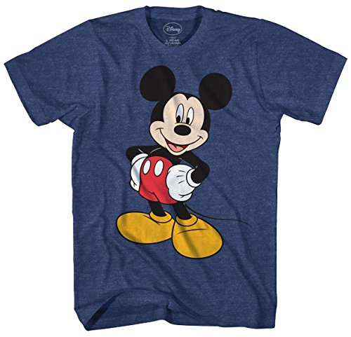 Disney Shirts For Adults (Disney Men's Mickey Wash Short Sleeve T-Shirt (Extra Large, Heather Navy))