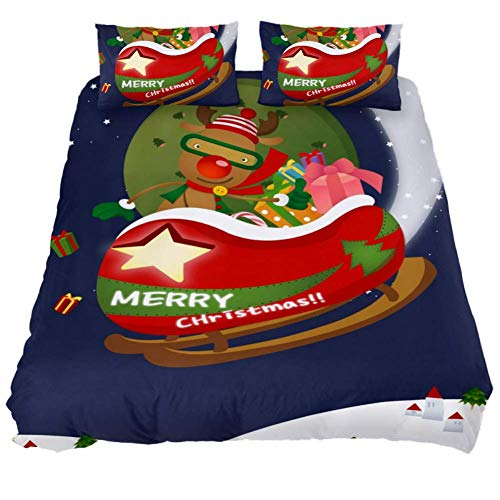 MaoLong Christmas Deer Sleigh Twin Quilt Bedding Set 3 Piece Comforter Bed Set Duvet Cover Quilted Coverlets for Boys Girls Women Men