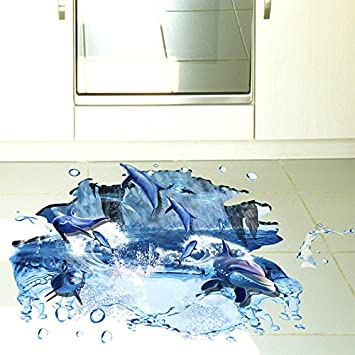 Weaeo 3d Ozean Springende Delfine Boden Wand Aufkleber Fur