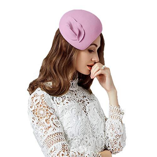 F FADVES Flower Womens Dress Fascinator Wool Felt Fedora French Pillbox Hat Party Wedding Pink Purple