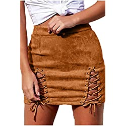 Laucote Women Solid Criss Cross Fuax Suede Hollow Out Stretch Mini Skirt Khaki S