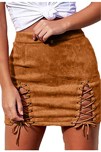 (Meyeeka Women Solid Criss Cross Fuax Suede Hollow Out Stretch Mini Skirt Khaki S)