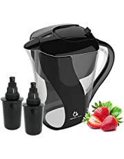 Alkaline Water Filter Pitcher with 6-Stage Carbon Water Filter - Removes Chlorine and Contaminants plus Increases, 10 Cup Extra Filter, Black, 1