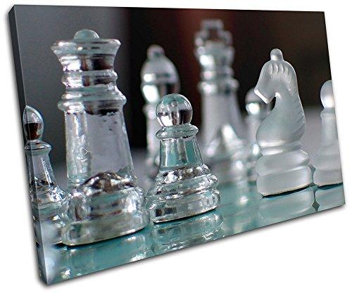 Bold Bloc Design – Glass Chess Pieces Hobbies 90x60cm Single Caja de Lamina de Arte Lienzo Enmarcado Foto del Colgante…