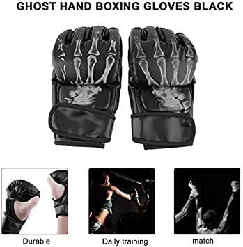 Noir Hnourishy MMA Sparring Grappling Fight Boxing Punch Ultimate Mitts Gants en Cuir Donner Une Protection optimale dans la comp/étition de Formation