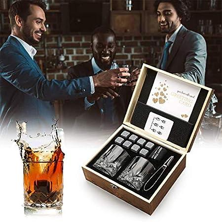 Juego de regalo de vasos de piedras de whisky, 8 piedras de granito de whisky, 2 vasos para beber whisky escocés o ginebra,caja de madera para regalo de Navidad/cumpleaños