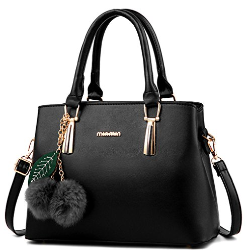Dreubea Women's Leather Handbag Tote Shoulder Bag Crossbody Purse Black