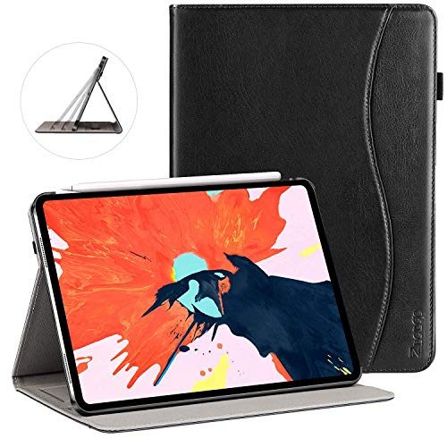 Ztotop Case for iPad Pro 11 Inch 2018 Release, Premium Leather Slim Multiple Viewing Angles Folding Stand Folio Cover with Auto Wake/Sleep (Support 2nd Gen Apple Pencil Wireless Charging),Black