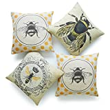 Hofdeco Decorative Throw Pillow Cover HEAVY WEIGHT Cotton Linen French Country Yellow Dots Modern Queen Honey Bee Illustration 18''x18'' 45cm x 45cm Set of 4