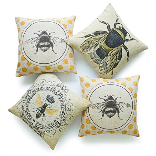 Hofdeco Decorative Throw Pillow Cover HEAVY WEIGHT Cotton Linen French Country Yellow Dots Modern Queen Honey Bee Illustration 18