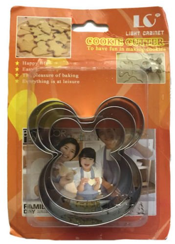 Mickey Mouse 3 sizes Metal Cookie Cutter Set (Cookie Cutter Mouse Metal Mickey)