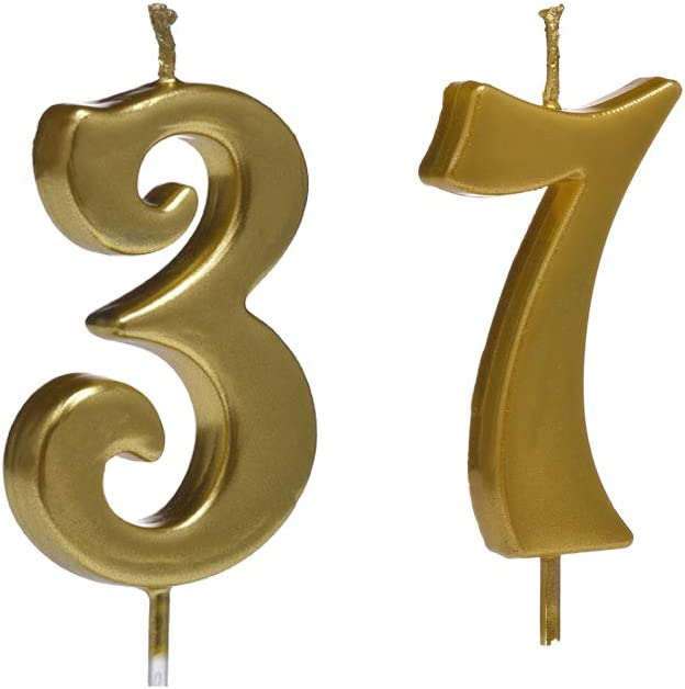 Number 37 Cake Topper for Birthday Decorations MMJJ Gold 37th Birthday Candles