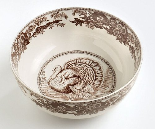 anksgiving Turkey Deep Open Vegetable Serving Bowl, Brown & White Transferware ()