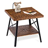 "PrimaSleep PVC23T01S Famille 24""W Solid Wood Top & Steel Legs Coffee Side End Sofa Dining Vanity Computer Office Garden Table, (Rustic Brown)"