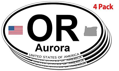 Aurora Oregon (Aurora, Oregon Oval Sticker - 4 pack)