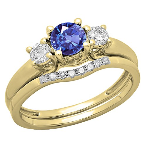 14K Yellow Gold 5 MM Round Tanzanite & Diamond Bridal 3 Stone Engagement Ring Set (Size 6) 14k Yellow Gold Tanzanite Ring