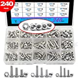 240 Piece M4 M5 M6 Stainless Steel Bolts Button Head Hex Socket Head Cap Screws Nuts Assortment Kit,304 Stainless Steel