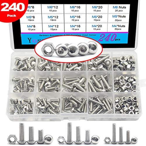 240 Pcs M4 M5 M6 Stainless Steel Mushroom Hex Button Head Cap Bolts Screws Nuts Assortment Kit