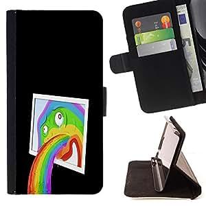 BullDog Case - FOR/HTC One M9 / - / Funny Abstract Pop Art Rainbow /- Monedero de cuero de la PU Llevar cubierta de la caja con el ID Credit Card Slots Flip funda de cuer