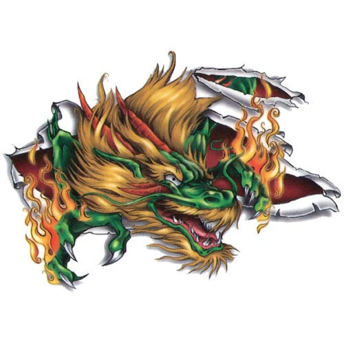 | Fast & Fierce | Waterproof Temporary Tattoo Green Dragon & Flames Stylish Arms Hands Chest Back Body Sticker - Made in USA Tattoos For Mens Womens