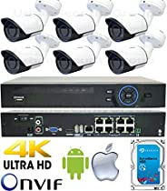 USG Business Grade 2MP 1080P 6 Camera HD Security System : 1x 5MP 8 Channel H.265 Ultra 4K Security NVR + 6x 2.8mm H.264 PoE IP Bullet Cameras with Deep Base + 1x 4TB HDD : Apple Android Phone App