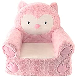 """Sweet Seats Adorable Pink Owl Children's Chair Ideal for Children Ages 2 and up, Machine Washable Removable Cover,14""""L x 19""""W x 20"""" H"""