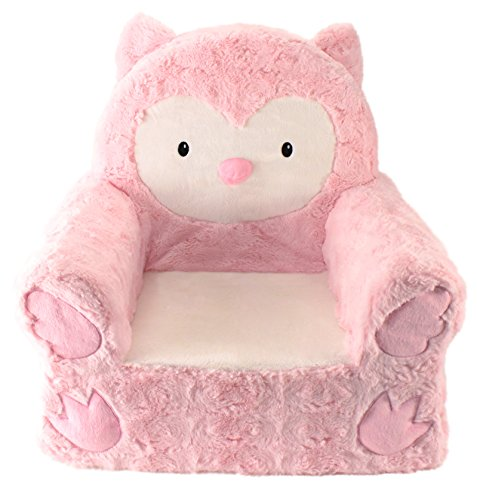 "sweet seats adorable pink owl children's chair ideal for children ages 2 and up, machine washable removable cover,14"" l x 19"" w x 20"" h"