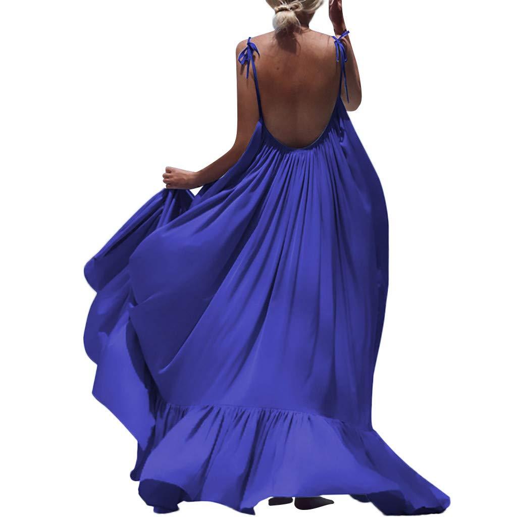 Winsummer Women's Strappy Backless Beach Maxi Dress Evening Party Long Dress Summer Sundress Blue