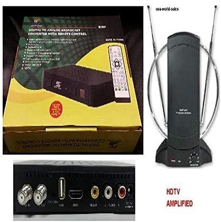 sunkey Digital a analógico HD HDTV caja de convertidor con control remoto HDMI y conexión USB + Antena amplificada TV: Amazon.es: Electrónica